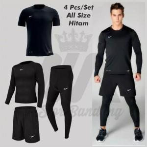 Harga 4 in 1 stelan setelan olahraga nlke jersey hitam all size l   hitam | HARGALOKA.COM