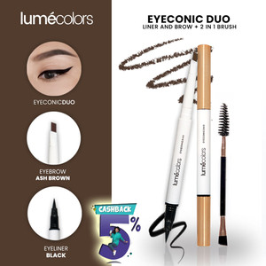 Harga lumecolors eyeconic pensil alis duo liner and brow 2 in 1 free brush   ash | HARGALOKA.COM