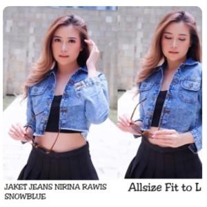 Harga jaket jeans denim crop wanita rawis snow blue snow black nirina acid   snow blue all   HARGALOKA.COM