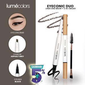 Harga pensil alis lumecolors eyeconic duo liner and brow 2 in 1 free brush   asphalt | HARGALOKA.COM