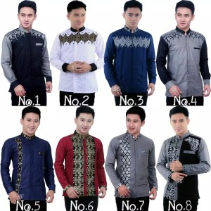 Harga baju koko kombinasi batik terbaru kemeja pria lengan panjang   | HARGALOKA.COM