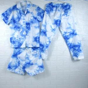 Harga piyama baju tidur pajamas wanita dewasa katun cp 3 in 1 tie dye 1   | HARGALOKA.COM