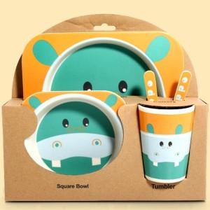 Harga set makan anak bahan bamboo   hippo kuda   HARGALOKA.COM