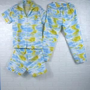 Harga piyama baju tidur pajamas wanita dewasa katun cp 3 in 1 tie dye 2   biru | HARGALOKA.COM
