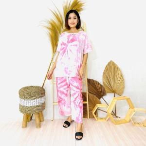 Harga baju tidur setelan celana panjang kaos motif tiedye bahan jersey ori     HARGALOKA.COM