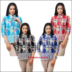 Harga atasan batik wanita blouse batik model ziper motif ondel ondel new tre   tosca | HARGALOKA.COM