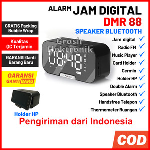 Harga jam meja dmr 88 digital alarm speaker bluetooth radio fm portable   | HARGALOKA.COM