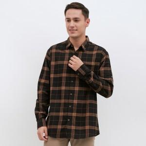 Harga m231 kemeja pria flannel panjang warna coklat 1901a   | HARGALOKA.COM