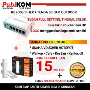 Harga paket full setting mikrotik rb750gr3 hex tenda 03 5km | HARGALOKA.COM