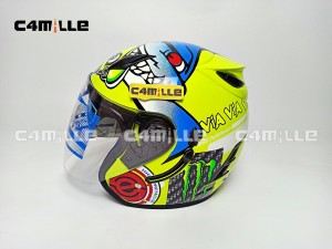 Harga helm arl model centro monster via yellow fluo double visor half | HARGALOKA.COM