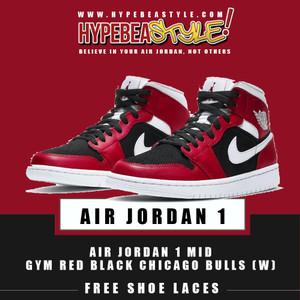 Harga sepatu air jordan 1 mid gym red black w mid chicago bulls original   36 | HARGALOKA.COM