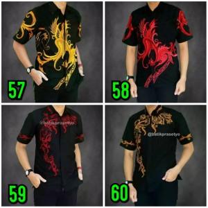 Harga baju batik koko pria kombinasi 012 modern hem kemeja koko pendek   | HARGALOKA.COM