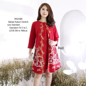 Harga baju batik mini dress modern wanita dress merah dress imlek murah   | HARGALOKA.COM