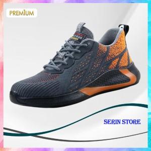 Harga sepatu sneakers pria terbaru gaya cowok kekinian keren promo import   abu orange | HARGALOKA.COM