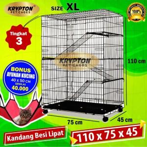 Harga kandang kucing tingkat 3 besi lipat tinggi 110 xl jumbo | HARGALOKA.COM