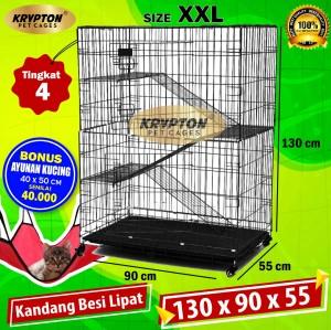Harga kandang kucing tingkat 3 extra jumbo 130x90x55 | HARGALOKA.COM