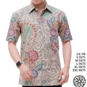 Harga kemeja batik tulis lengan pendek lapis trikot alka06   hijau muda | HARGALOKA.COM