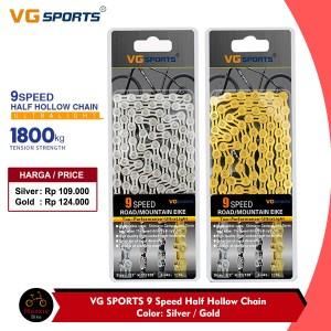 Harga vg sports rantai sepeda bicycle chain half hollow 9 speed gold silver   | HARGALOKA.COM