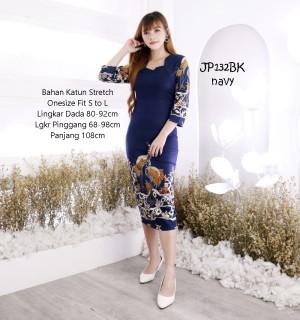 Harga batik dress modern wanita baju gaun batik kerja wanita flower etnic   | HARGALOKA.COM