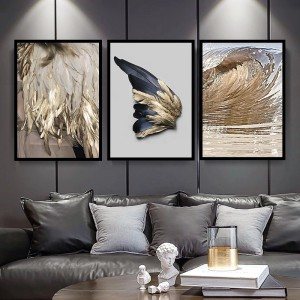 Harga gold feather abstract canvas print set of 3 | HARGALOKA.COM