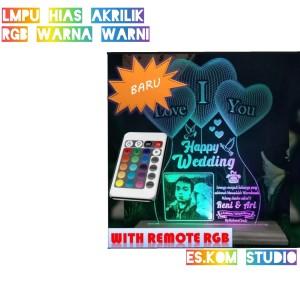 Harga lampu hias akrilik custom foto rgb remote kado ultah kado anniv dll   tanpa | HARGALOKA.COM