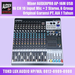 Harga mixer console auderpro ap 16m usb 16 chanel 10 input mic 6 group | HARGALOKA.COM