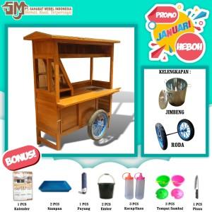 Harga gerobak soto lamongan paket standart promo januari   kayu mahoni pulau | HARGALOKA.COM