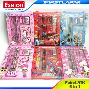 Harga paket alat tulis 6 in 1 stationery set 608 karakter motif cewek | HARGALOKA.COM
