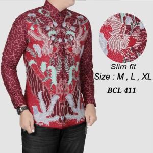 Harga batik pria kemeja slimfit baju batik modern lengan panjang d   HARGALOKA.COM