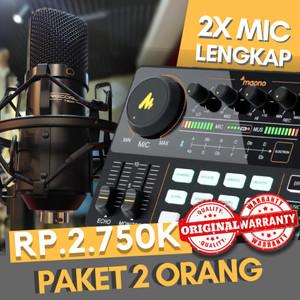 Harga paket recording podcast 2 orang soundcard maono am200 mic rec tech   HARGALOKA.COM