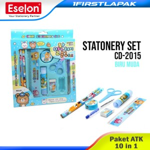 Harga paket alat tulis 10 in 1 stationery set fancy pensil penghapus set   merah | HARGALOKA.COM