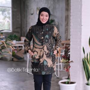 Harga baju batik wanita blouse seragam kerja batik wanita black   hitam | HARGALOKA.COM