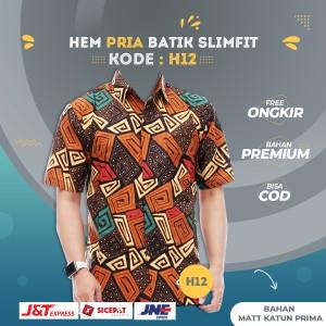 Harga baju hem kemeja batik pria lengan pendek premium original katun | HARGALOKA.COM