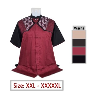 Harga kemeja pria jumbo 48 baju koko muslim big size xxl xxxl xxxxl xxxxxl   marun | HARGALOKA.COM