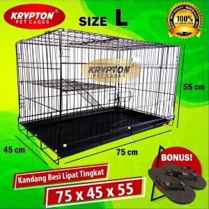 Harga kandang besi lipat tebal 75x45x55 anjing kucing hewan | HARGALOKA.COM