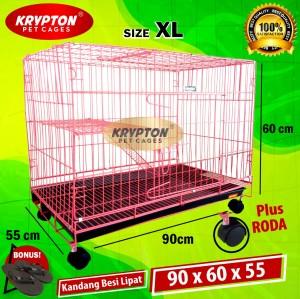 Harga kandang besi lipat 90x60x55 tingkat roda jumbo xl kucing | HARGALOKA.COM
