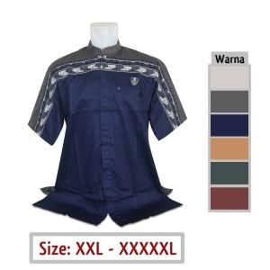 Harga baju koko jumbo pria muslim 02 ukuran big size xxl xxxl xxxxl xxxxxl   biru | HARGALOKA.COM