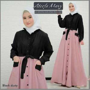 Harga gamis maxy wanita muslimah atheefa maxy moscrpe green lave murah | HARGALOKA.COM