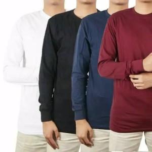 Harga baju kaos pria lengan panjang cotton combad 30s premium   navy | HARGALOKA.COM