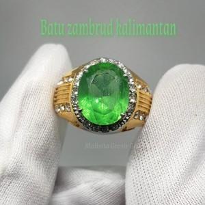 Harga cincin batu zambrud kalimantan octagin original stone     HARGALOKA.COM