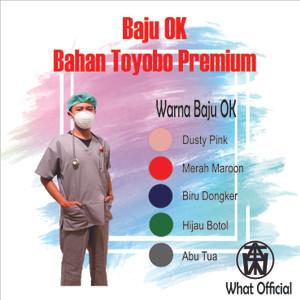 Harga pre order baju jaga pendek baju ok baju medis free bordir   biru   HARGALOKA.COM