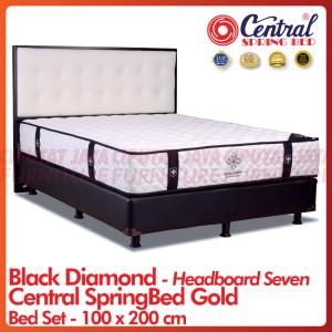 Harga spring bed central gold black diamond pocket   bed set headboard seven   100 x 200 | HARGALOKA.COM