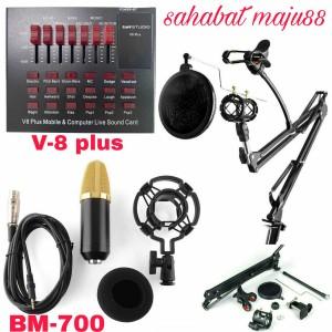 Harga paket rekaman mic condenser bm 700 sound card v 8 stand full | HARGALOKA.COM