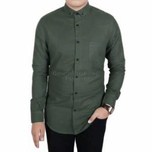 Harga kemeja pria kemaja polos kemeja lengan panjang kemeja kasual   hijau army | HARGALOKA.COM