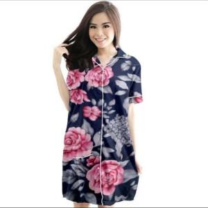 Harga baju tidur daster wanita dewasa murah cantik motif   das retro black   bunga | HARGALOKA.COM