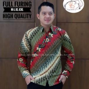 Harga baju kemeja cowok formal casual batik katun lengn panjang lapis furing   | HARGALOKA.COM