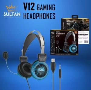 Harga hf headset headphone handsfree earphone gaming pc musik v12 led   HARGALOKA.COM
