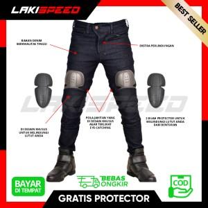 Harga celana jeans bikers pria touring murah berkualitas dengan 2 protector   hitam | HARGALOKA.COM