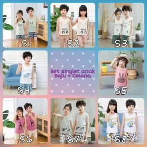 Harga 0 6 tahun baju setelan anak singlet celana katun adem unisex bayi   s6 90   HARGALOKA.COM