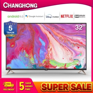 Harga changhong l32k2 32 34 android 9 0 smart tv netflix led   HARGALOKA.COM